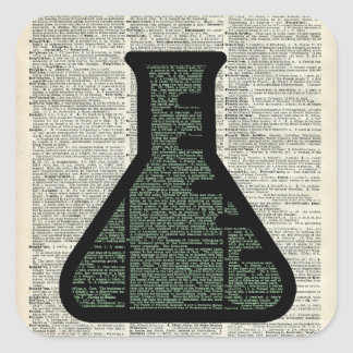 Test Tube Dictionary Art Square Sticker