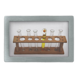 test tubes science lab equipment and flower belt buckle