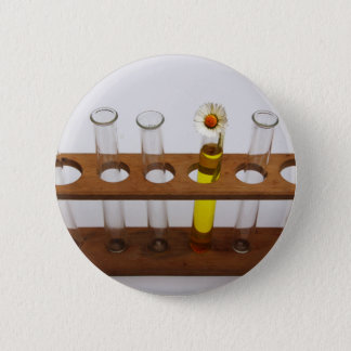 test tubes science lab equipment and flower pinback button