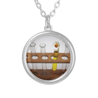 test tubes science lab equipment and flower silver plated necklace