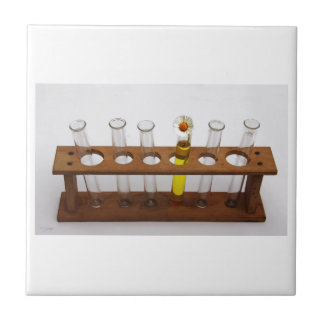 test tubes science lab equipment and flower tile