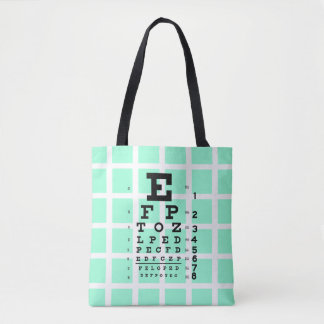 Test Your Eyes: Retro Eye Chart & Optical Illusion Tote Bag