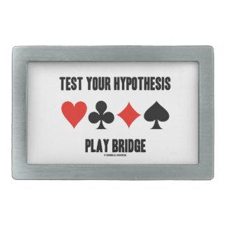 Test Your Hypothesis Play Bridge (Card Suits) Rectangular Belt Buckle