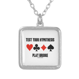 Test Your Hypothesis Play Bridge (Card Suits) Silver Plated Necklace