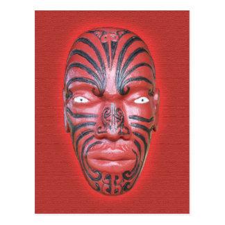 Testaferro maorí de la canoa de la guerra - postal