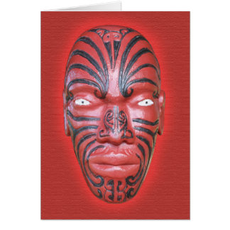 Testaferro maorí de la canoa de la guerra - tarjeta pequeña