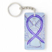Testicular Cancer Angel Awareness Ribbon Keychain