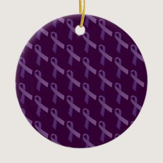 testicular cancer awareness Purple Ribbon Ceramic Ornament