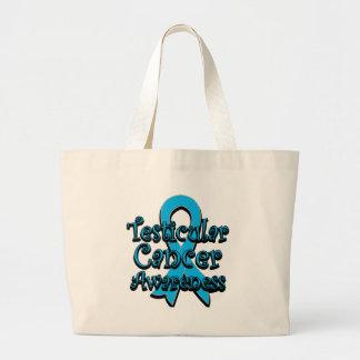 Testicular Cancer Awareness Ribbon Large Tote Bag