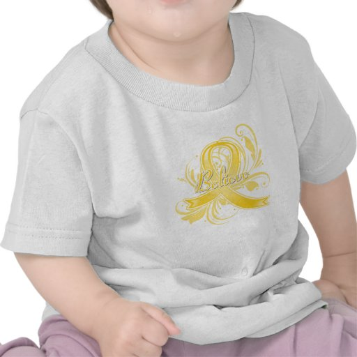 Testicular Cancer Believe Flourish Ribbon T-shirts