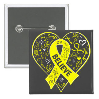 Testicular Cancer Believe Ribbon Heart 2 Inch Square Button
