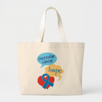 Testicular Cancer Blue Ribbon Large Tote Bag
