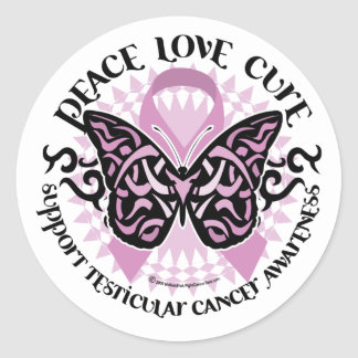 Testicular Cancer Butterfly Tribal Classic Round Sticker