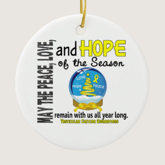 Testicular Cancer Christmas 3 Snow Globe Ornaments