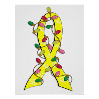 Testicular Cancer Christmas Lights Ribbon Poster