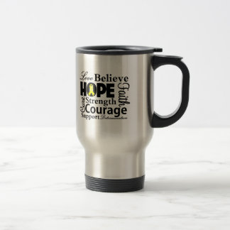 Testicular Cancer Collage of Hope 15 Oz Stainless Steel Travel Mug