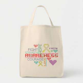 Testicular Cancer Colorful Slogans Tote Bags