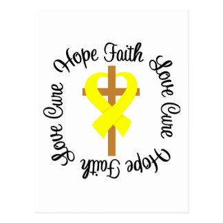 Testicular Cancer Faith Hope Love Cross Postcard