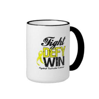 Testicular Cancer Fight Defy Win Ringer Coffee Mug