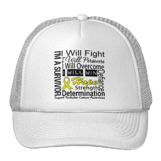 Testicular Cancer Fight Persevere Overcome Win Trucker Hats