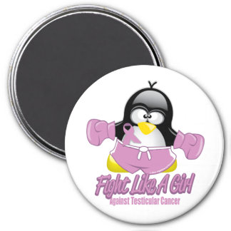 Testicular Cancer Fighting Penguin 3 Inch Round Magnet