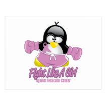 Testicular Cancer Fighting Penguin Postcard