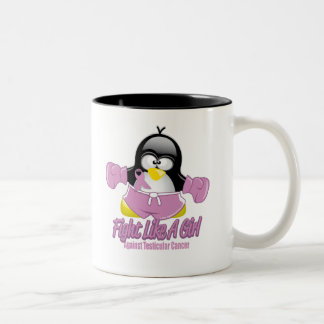 Testicular Cancer Fighting Penguin Two-Tone Coffee Mug