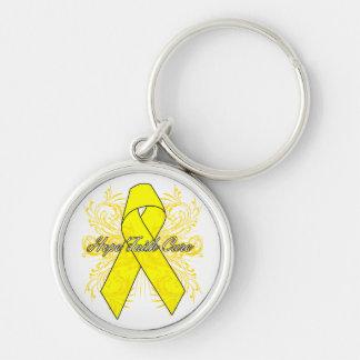 Testicular Cancer Flourish Hope Faith Cure Keychains
