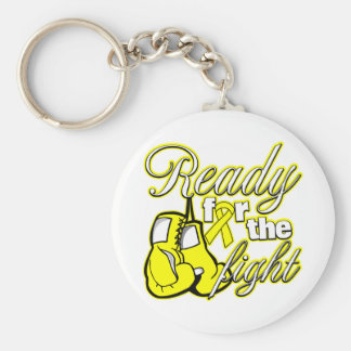 Testicular Cancer Gloves Ready For The Fight Basic Round Button Keychain