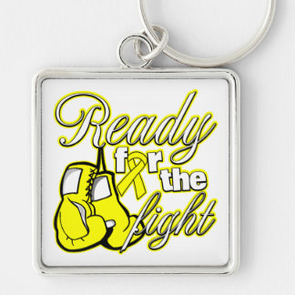 Testicular Cancer Gloves Ready For The Fight Silver-Colored Square Keychain