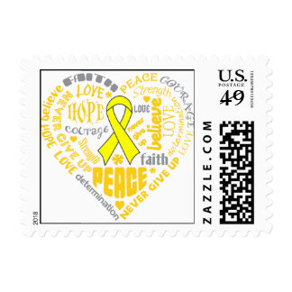Testicular Cancer Heart Words Stamps