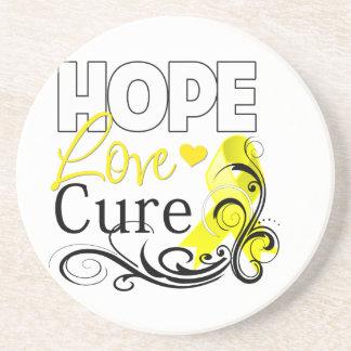 Testicular Cancer Hope Love Cure Drink Coaster