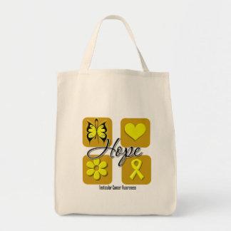 Testicular Cancer Hope Love Inspire Awareness Tote Bags