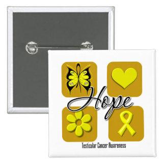 Testicular Cancer Hope Love Inspire Awareness Pinback Buttons