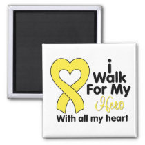 Testicular Cancer I Walk For My Hero 2 Inch Square Magnet