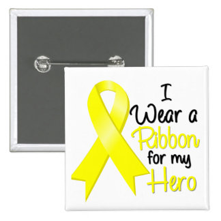 Testicular Cancer I Wear a Ribbon For My Hero Pins