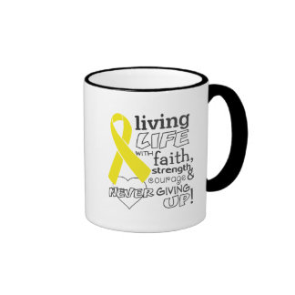 Testicular Cancer Living Life With Faith Ringer Coffee Mug