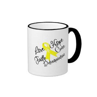 Testicular Cancer Love Hope Determination Ringer Coffee Mug