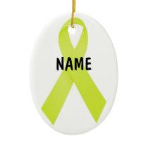 Testicular Cancer Memorial Ribbon Ceramic Ornament