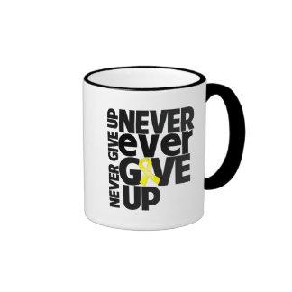 Testicular Cancer Never Ever Give Up Ringer Coffee Mug