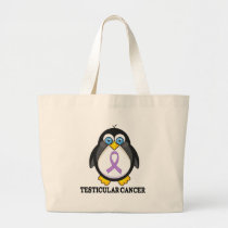 Testicular Cancer Purple Ribbon Large Tote Bag