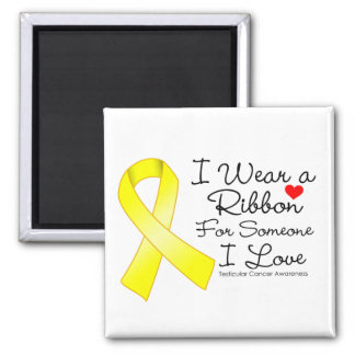 Testicular Cancer Ribbon Someone I Love 2 Inch Square Magnet