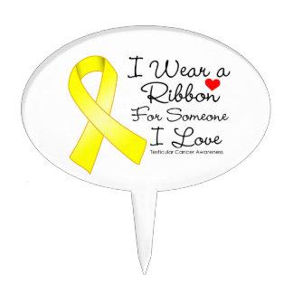 Testicular Cancer Ribbon Someone I Love Cake Picks