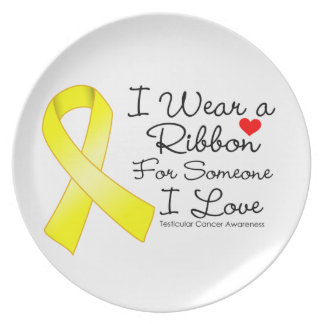Testicular Cancer Ribbon Someone I Love Party Plate