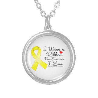 Testicular Cancer Ribbon Someone I Love Round Pendant Necklace