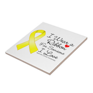 Testicular Cancer Ribbon Someone I Love Small Square Tile