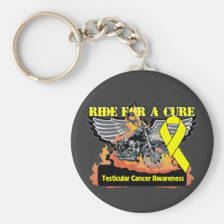 Testicular Cancer Ride For a Cure Basic Round Button Keychain