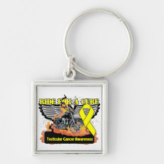 Testicular Cancer Ride For a Cure Silver-Colored Square Keychain