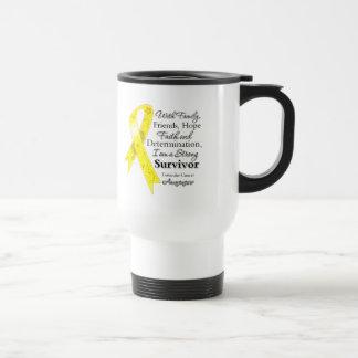 Testicular Cancer Support Strong Survivor 15 Oz Stainless Steel Travel Mug