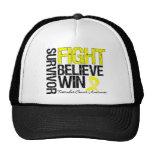 Testicular Cancer Survivor Fight Believe Win Motto Trucker Hat
